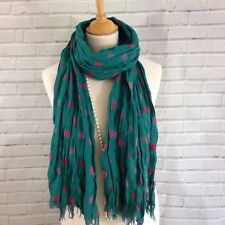 Womens Winter Scarf Wrap Jade Green Pink Polka Dots Spots Crinkle Fabric