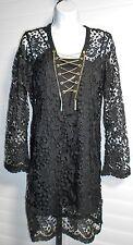 Michael Michael Kors Black Gold Chain Lace Tunic Dress Size XS $250 NWT