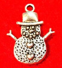 50Pcs. WHOLESALE Tibetan Silver SNOWMAN Christmas Charms Earring Drops Q0539