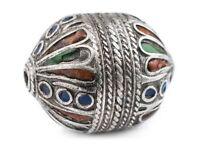 Green Enamel Berber Bead Set of 2 19mm Morocco African Round White Metal