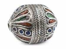 Extra Fancy Silver Enamel Berber Bicone Bead Pendant 30mm Morocco African