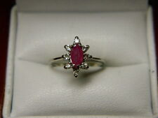 Marquise Cut Natural Ruby & Halo Diamond Ring .41ct tw 10K White Gold