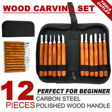 12 PCS Wood Carving Hand Chisel Set Kit Woodworking Tools Perfect For Beginner