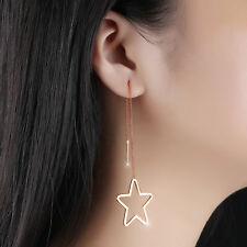 Damen Ohrringe Durchzieher Großer Stern Edelstahl 316L Ohrhänger Rosegold