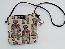 PepperTree Shoulder Bag Big Knotted Beige Brown Love Doll Chambray w/Red Heart
