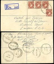 NIGERIA KG6 1945 REGISTERED OMOKU MANUSCRIPT ETIQUETTE...9 POSTMARKS...AHOADA