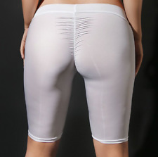 Ice Silk See Through Shiny Short Leggings Low Rise Waist Tight Knee Yoga Pants