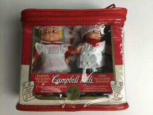 "Vtg 5"" Campbell Soup Kids Collector Dolls 1995 Fibre Craft chef figure set lot 2"