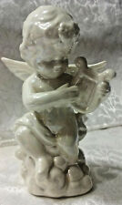 Ceramic White Cherub Angel Plays Harp Statue Figurine Sculpture Room Decoration