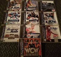 PLAYSTATION GAME LOT: WCW, NBA LIVE 98, ANDRETTI RACING, MADDEN 2000....