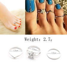3Pc Celebrity Women Fashion Toe Ring Adjustable Foot Finger Beach Jewelry Silver