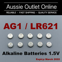 10x AG1 / LR621/364A Button Cell Eunicell Alkaline Battery 1.5V - Stock in Aust