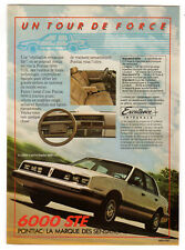 1985 PONTIAC 6000 STE Vintage Original SMALL Print AD - White car photo Canada