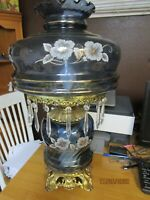 "Very Large Vintage Hurricane Lamp Clear Blue Glass With Crystal Prisms 25""Tall"