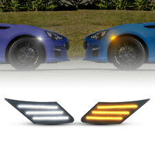 White&Amber LED Smoked Side Marker Lights For 2013-up Toyota 86 FR-S Subaru BRZ