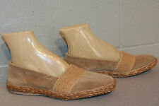 7 M NOS VTG 70s Beige Velour Espadrille Stretch Slip-On Loafers Flats Deck Shoe