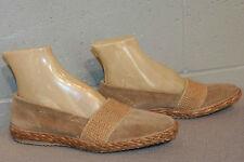 7 M Nos Vtg 70s Beige Velour Espadrille Stretch Slip-On Loafers Flats Deck Shoe