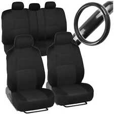 Sporty Full Set Black Car Seat Covers W/ Black Carbon Fab Steering Wheel Cover