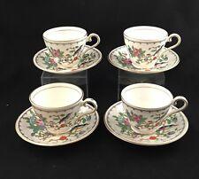 Aynsley Pembroke SET 4 Teacup & Saucer Gold Trim Birds Floral England Tea Cup