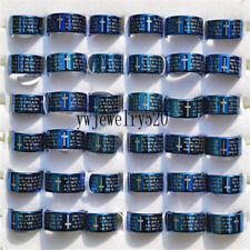 Wholesale Bulk 10X Blue Cross Christian Prayer Stainless Steel Man's ring FREE