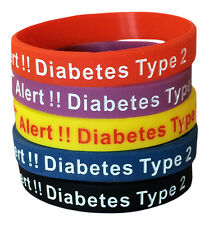 Diabetes Medical Alert Type 2 Silicone ID Rubber Bracelets Diabetic (Set of 5)
