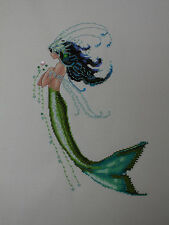 Completed Mirabilia Nora Corbett Cross Stitch - Mermaid Verde - Beautiful Green