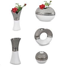 Dekovase / Teelicht Serie Keramik Silber / Weiß FORMANO