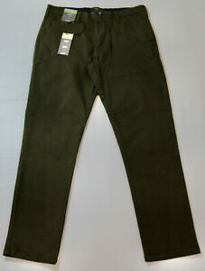 """Marks & Spencer Mens Khaki Green Slim Fit STRETCH Cotton Trousers M&S W30"""" L29"""""""