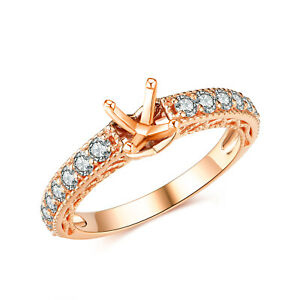 Solid 14K Rose Gold Real Diamond Engagement Wedding Ring Fine Jewelry 0.56CT