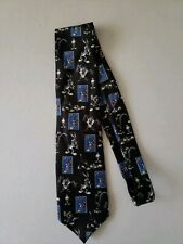 Looney Tunes Stamp Collection Bugs Taz Sylvester Marvin Tweety Black Mens Tie