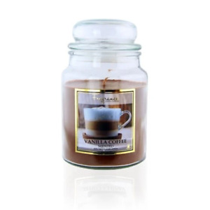 FabFinds Large 18oz Scented Soy Glass Jar Candle Vanilla Coffee Home Fragrance