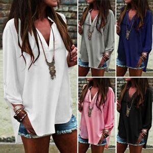 UK STOCK Women Oversized Deep V Neck Long Sleeve Casual Loose Tops Shirt Blouse