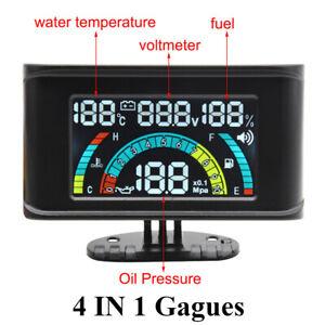 4In 1 LCD 12V/24V Oil Pressure Gauge Voltmeter Water Temp Gauge Oil Fuel Gauge