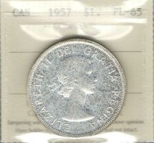 1957 Silver Dollar ICCS PL-65 ** Beautiful Original GEM Early QEII Canada $1.00