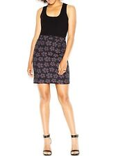 Rachel Roy Dress Sz L Black Multi Floral Sleeveless Knit Casual Sweater Dress