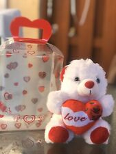 Valentines Day Teddy Bear With Hearts Clear Bag White /Red