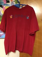 Vintage Esprit Spell Out Flowers T-shirt Red Women's Large 100% Cotton USA Made