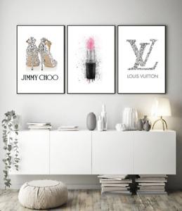 Set Of 3  Fashion Art Perfume Bottles Coco Prints Home Decor Wall Art  A4 A3 S41