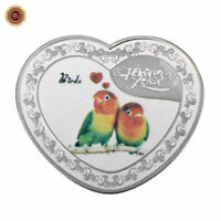 WR Heart Shape Forever Love Birds $1 SILVER Proof Coin Romantic Valentines Gifts