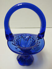4346KN - 4-1/2'' Tall Fenton Mini Footed Basket in Cobalt Art Glass Hard to Find
