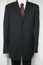 VERSINI Black Suit 40L 3 button 100% wool pleated pants 35x33