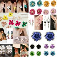 Elegant Women's Crystal Rhinestone Flower Ear Studs Dangle Drop Earrings Jewelry