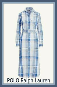 Polo Ralph Lauren Linen Blue Checked Midi Shirt Dress Royal Blue size 10 UK US 6