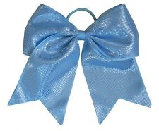 "NEW ""SPARKLE DOTS Light Blue"" Cheer Bow Pony Tail Ribbon Hair Bows Cheerleading"