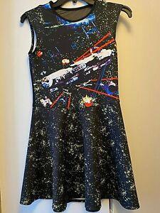 STAR WARS Sleeveless Stretch Millennium Falcon Black T-Shirt Dress Women's S