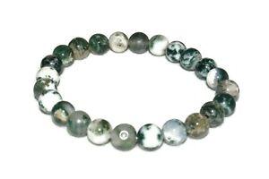 Agate Tree Stone Bracelet Natural Crystal Healing Unisex Abundance Enjoyment