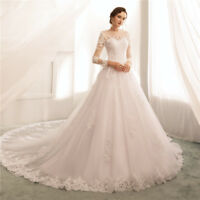 White/Ivory Bridal Gown Classic Long Sleeve A Line Wedding Dress Lace Appliques