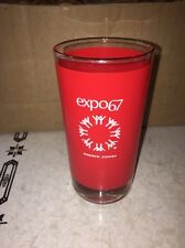 EXPO 67 VTG DRINKING GLASS TUMBLER FRANCE USSR GREAT BRITAIN USA SOUVENIR RED A+