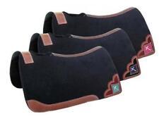 "Showman ® 32"" X 31"" x 1"" Black Felt Saddle Pad  W/ Beaded Cross Inlay 22935"