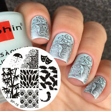 Feather Bamboo Mask Nail Art Image Stamp Template Manicure Born Pretty BP18